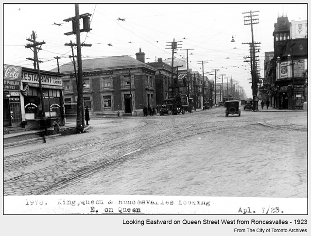 historical photograph toronto queen street west looking east from roncesvalles 1923