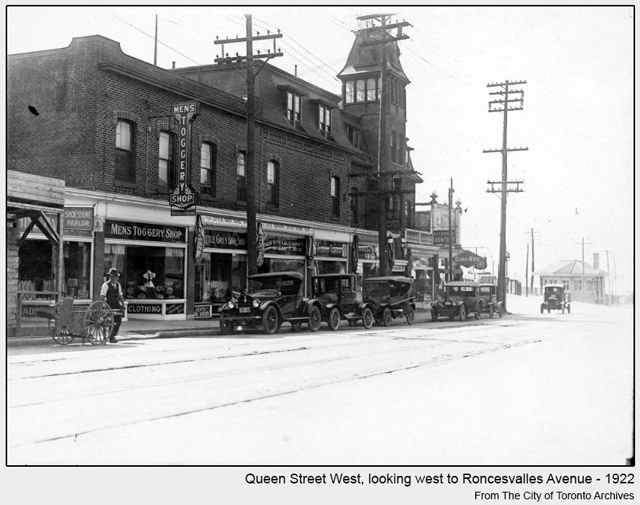 historical photograph toronto queen street west looking towards roncesvalles 1922