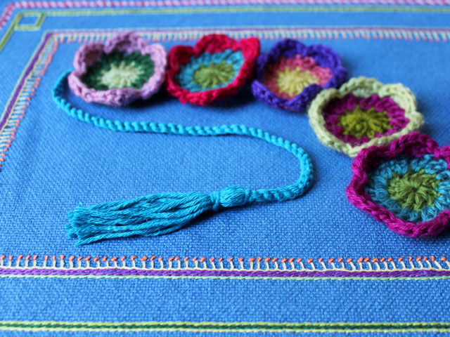 tassel on ends of crocheted garland