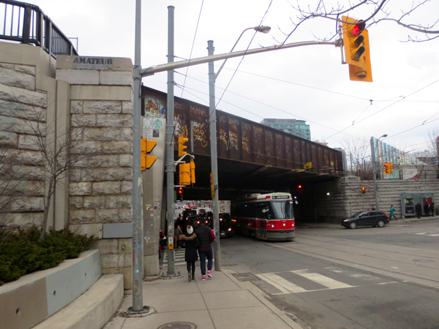 train bridge eastern edge of parkdale queen street west toronto