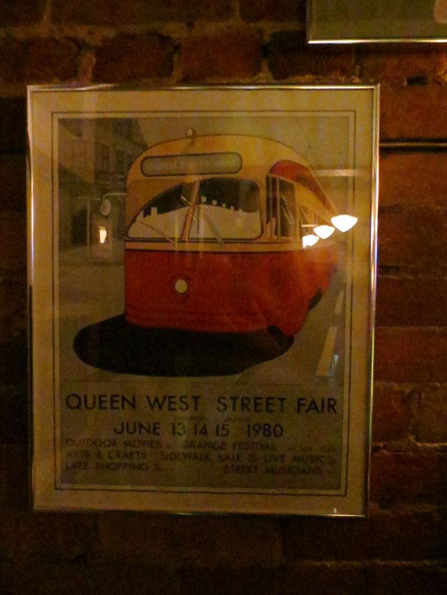vintage street festival sign at queen mother restaurant queen street west toronto