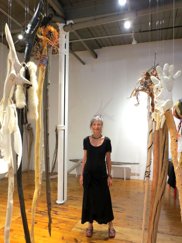 artist sally thurlow with works from wander in the elements show at red head gallery toronto