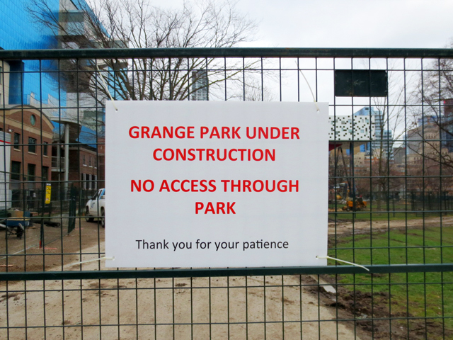 construction sign grange park toronto spring 2016