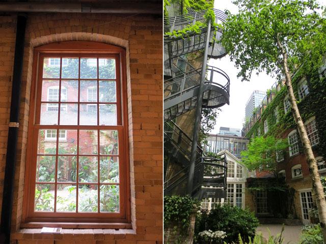 courtyard garden at 401 richmond toronto historic building