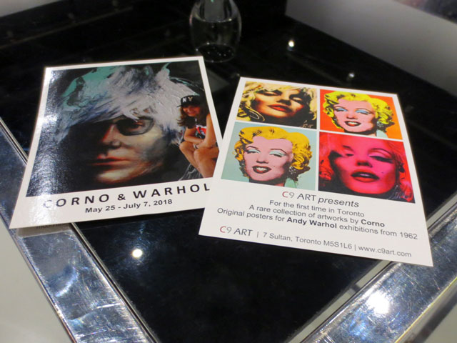 flyers for corno paintings and warhol posters at c9 gallery yorkville toronto free show