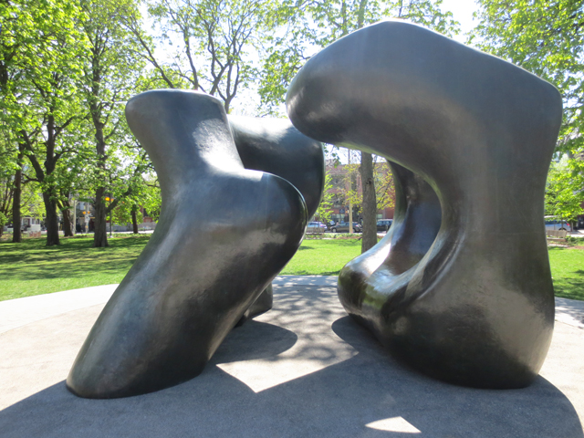 henry moore sculpture two large forms in grange park moved from dundas and mccall toronto