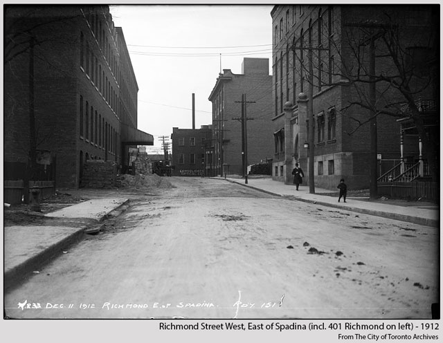 historic photograph toronto richmond street west near spadina including 401 richmond street toronto 1912