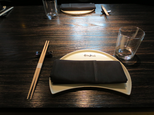 place setting at akira back japanese restaurant bisha hotel toronto