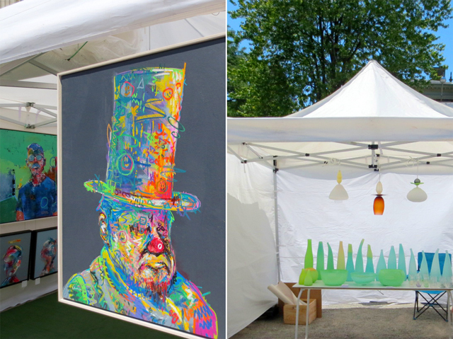 at toronto outdoor art fair painting by pat cantin and glass work by jennifer bennett