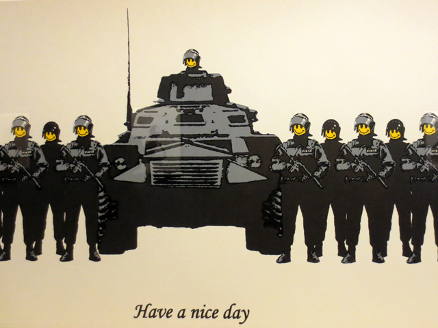 banksy have a nice day print detail cropped by me