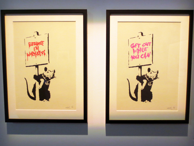 because im worthless get out while you can rat prints by bansky on display in toronto