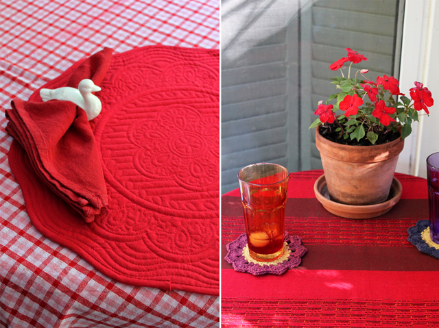 canada day bbq decorating with what you have red and white crocheted coasters