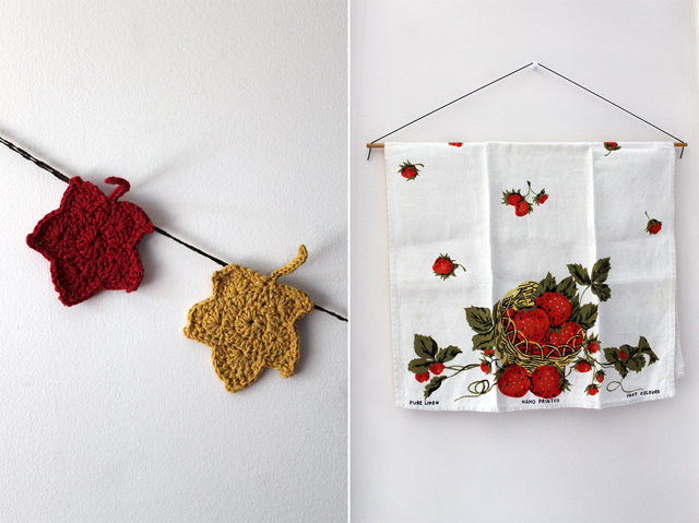 crocheted maple leaf garland and vintage strawberry tea towel decorating for canada day