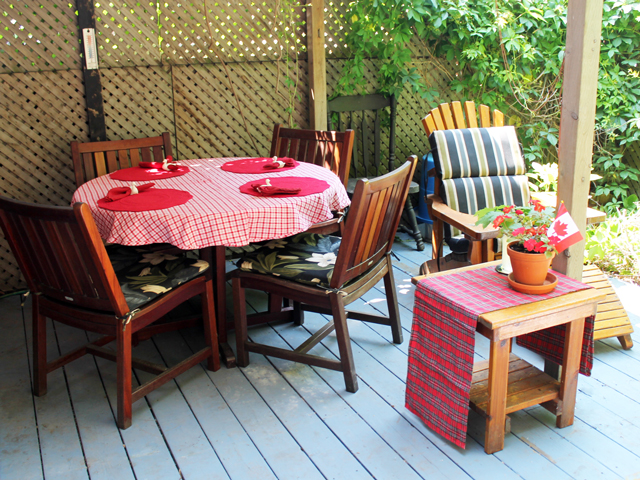 deck set up for canada day outdoor dinner bbq