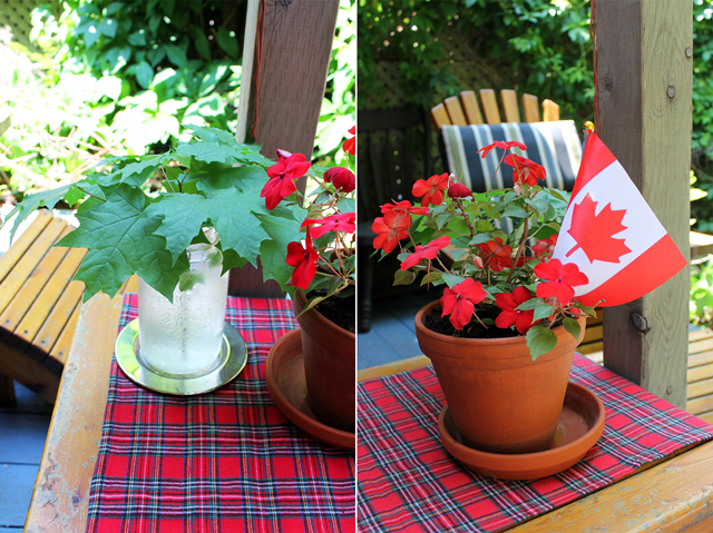 decorating for canada day party with maple leaves in a jar and small flag in red impatien plant flannel runner made for christmas