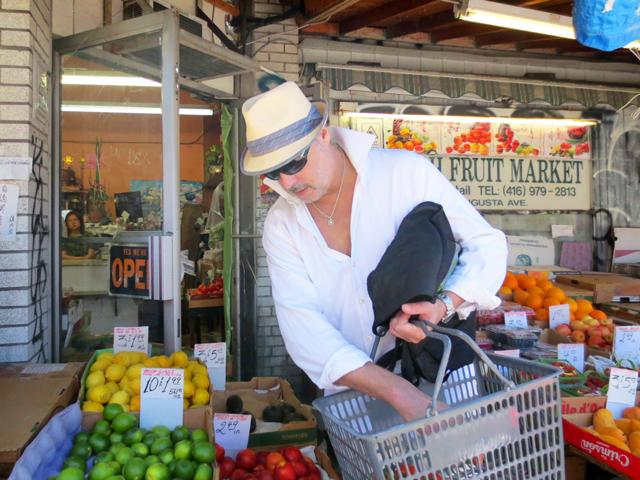 shopping for fruit and vegetables in kensington market toronto