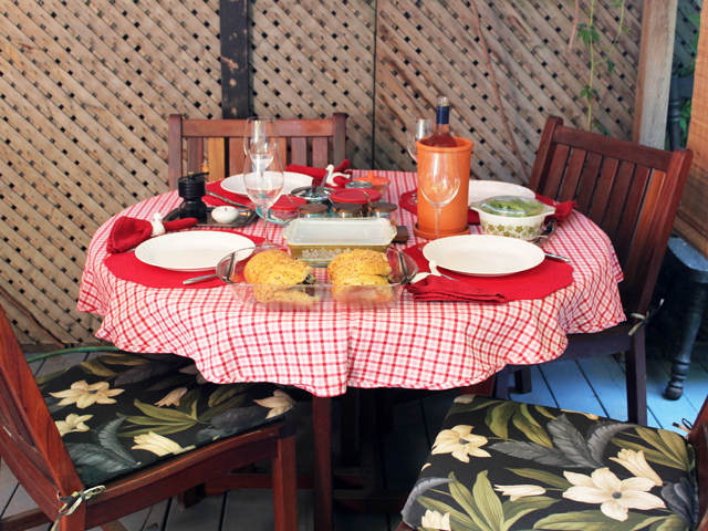 table with food vegetarian bbq dinner
