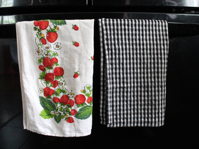 vintage tea towels used to decorate