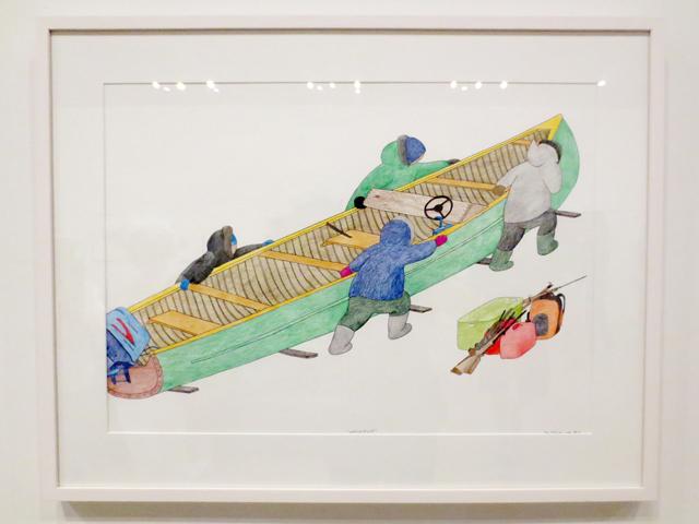 coloured pencil drawing umiijugiut by Tim Pitsiulak on display at ago toronto