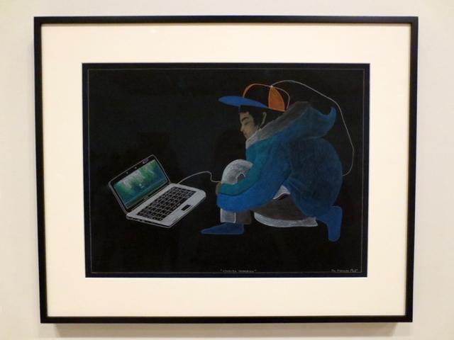 drawing by Tim Pitsiulak computer generation at ago exhibition tunirrusiangit