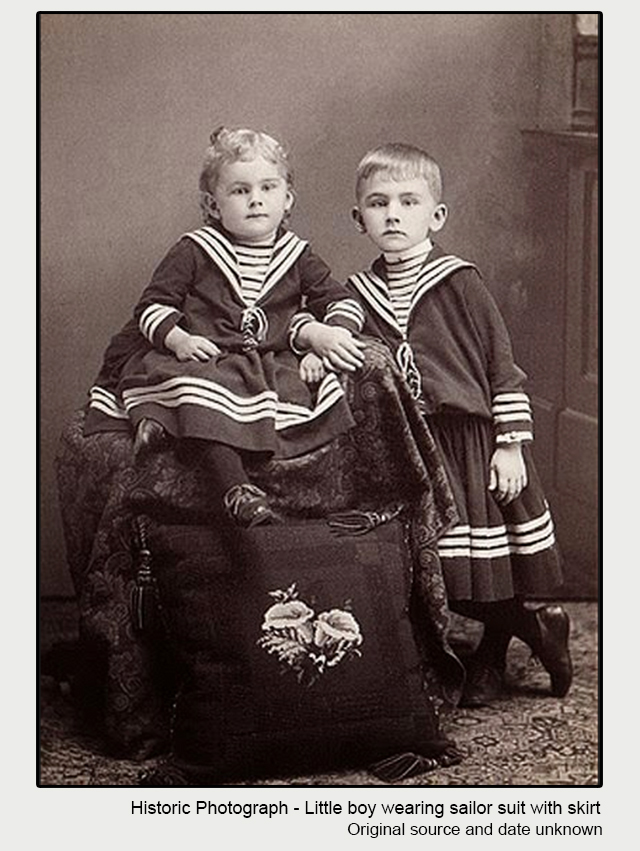historic photograph of children wearing sailor suits