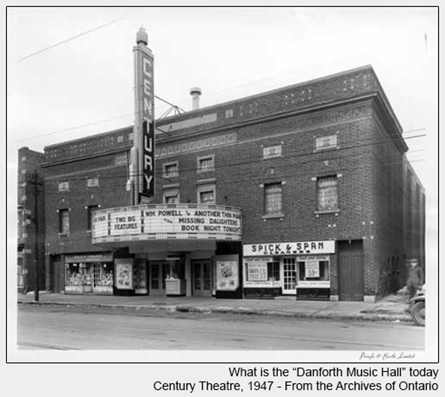 historic photograph of danforth music hall exterior 1947 from ontario archives