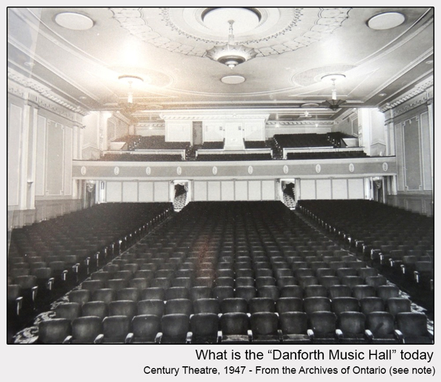 historic photograph of danforth music hall interior 1947 from ontario archives