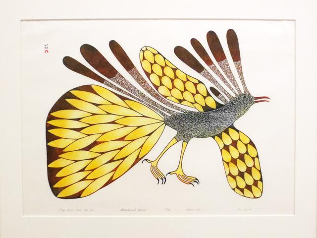 large bird from sun stone cut and stencil print by kenojuak ashevak at ago toronto tunirrusiangit exhibit