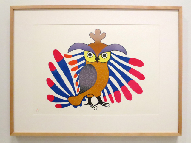owl sentinal lithograph by inuit artist Kenojuak Ashevak canadian art at ago toronto