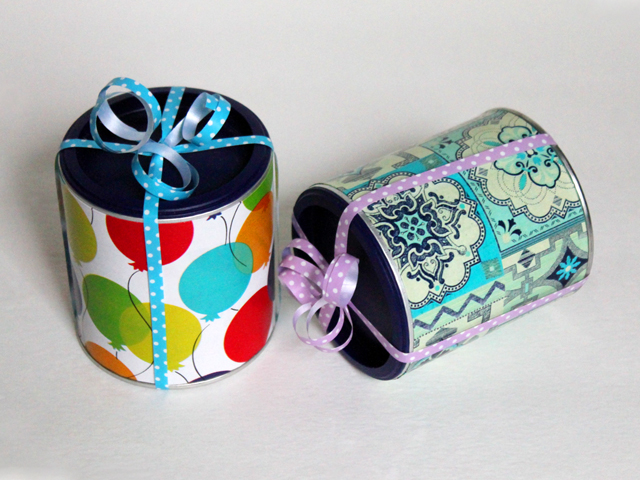 repurposed tetley tea cans for gift wrapping especially gift cards how to gift wrap