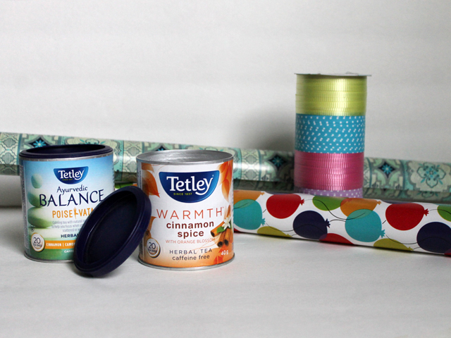 repurposing tetley tea can to wrap small gift or gift card supplies