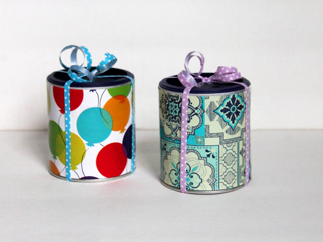 reusing tetley tea cans for gift wrapping especially for gift cards