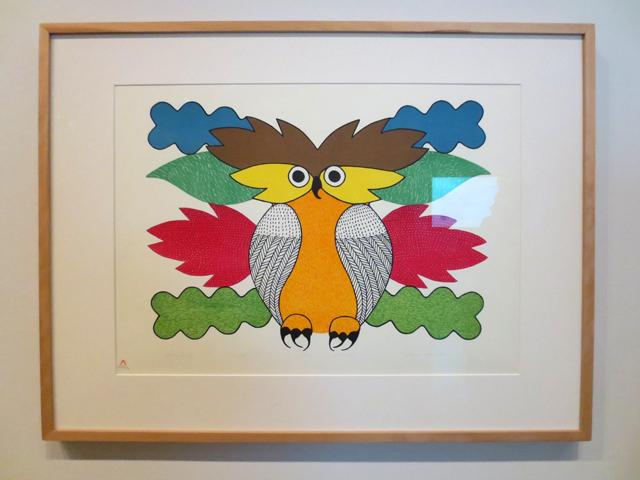 spirit of the owl lithograph by inuit artist kenojuak ashevak at ago toronto tunirrusiangit exhibition