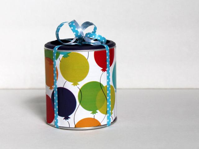 tetley tea can repurposed to wrap gift card