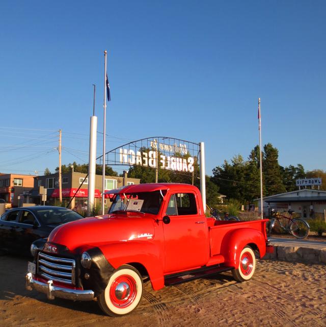 classic car show sauble beach at sunset ontario canada lake huron