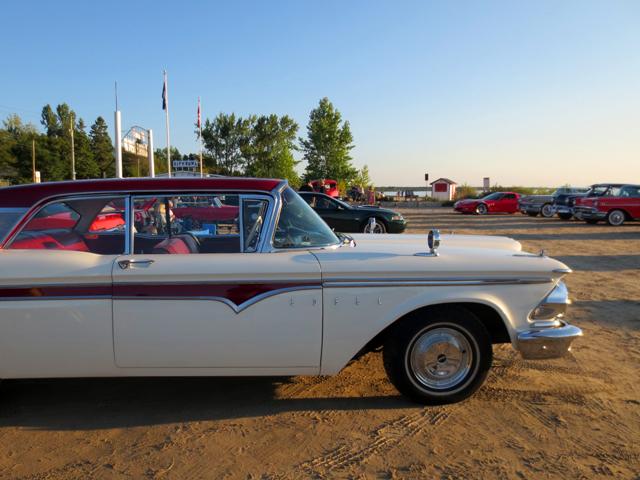 classic cars on the beach at sunset sauble beach ontario