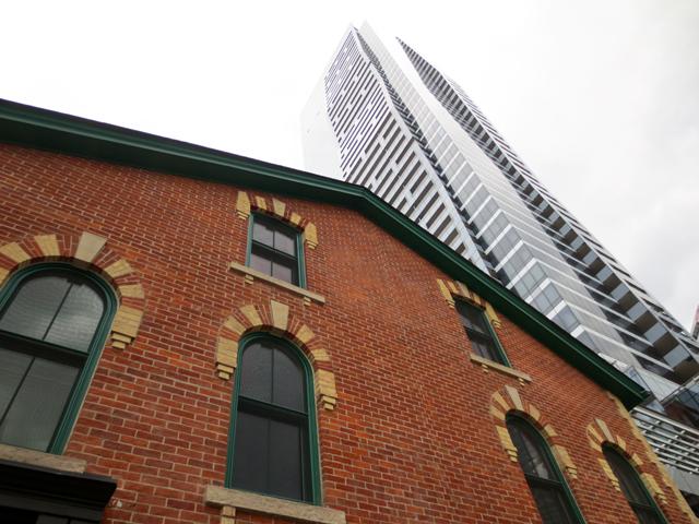 historic buildings beside new ones yonge street toronto