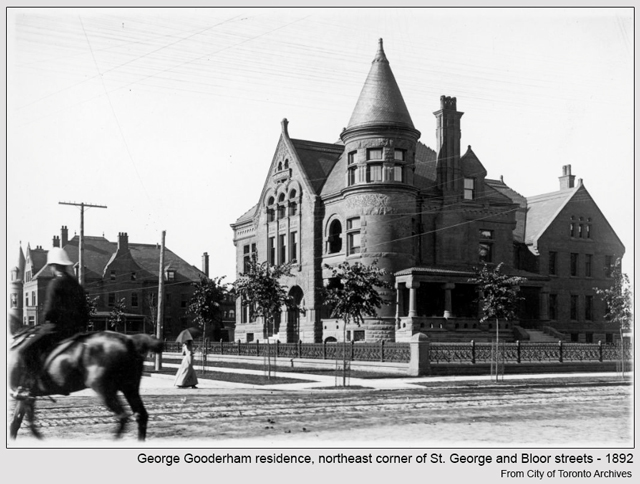 historic photograph toronto George Gooderham residence northeast corner of St George and Bloor 1892