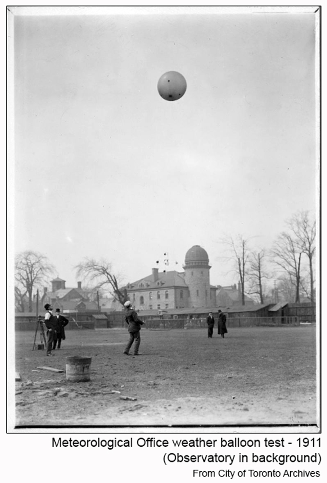 historic photograph toronto weather balloon test 1911 with observatory in background