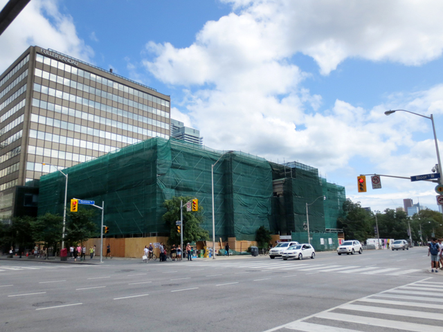 lillian massey building during refurbishing bloor street toronto