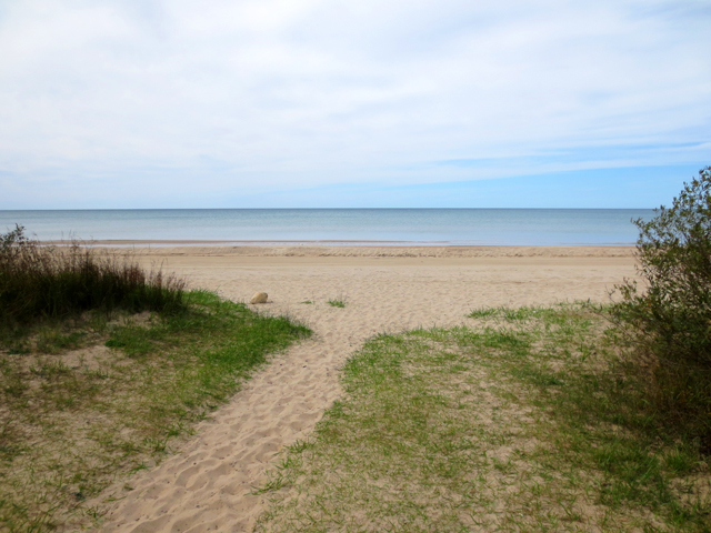 sauble beach on a cloudy day in september
