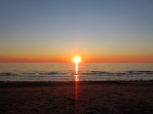 sunset at sauble beach lake huron ontario canada
