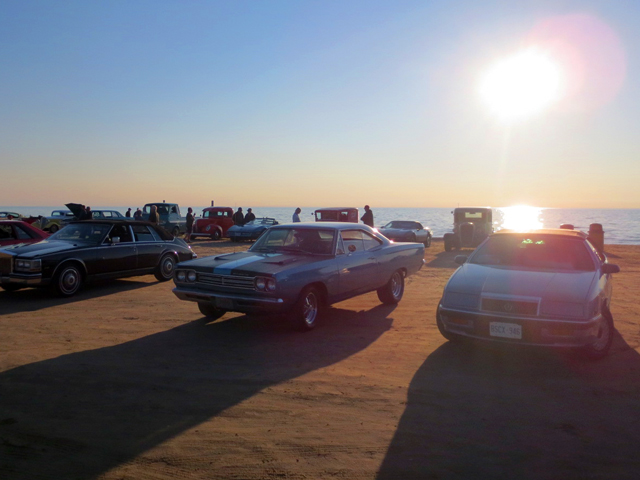 sunset classic cruisers car show at sauble beach ontario lake huron