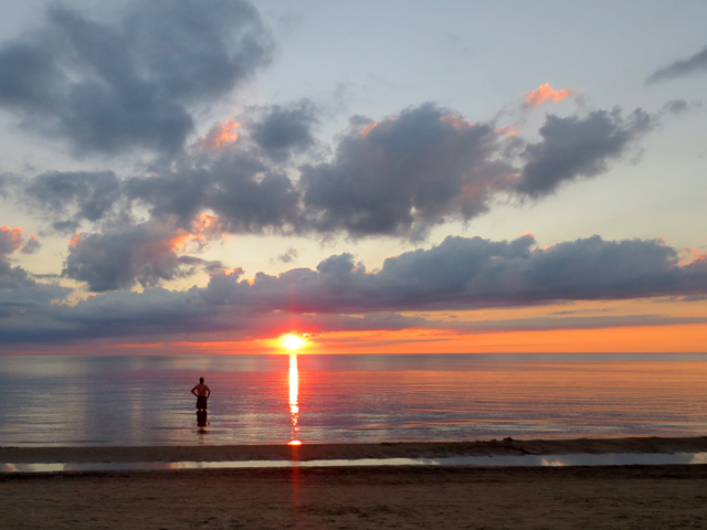 sunset swim sauble beach ontario canada