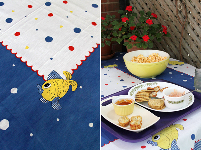 thrifted table cloth and some appetizers