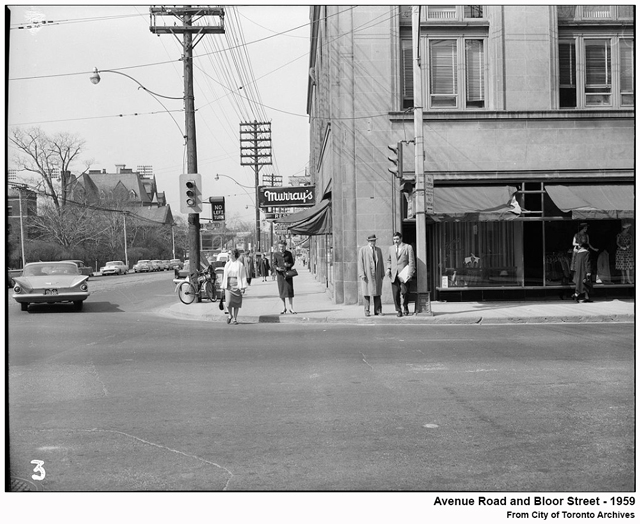 toronto historic photograph avenue road and bloor street 1959