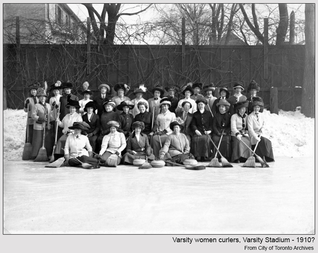 toronto historic photograph women curlers varsity stadium around 1910