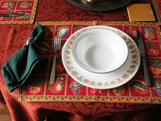 autumn table setting vintage thrifted and new