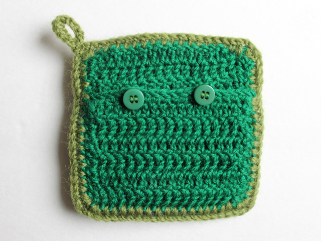 back of crocheted renewable scent sachet