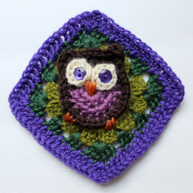 crocheted owl granny square made from pattern by repeat crafter me